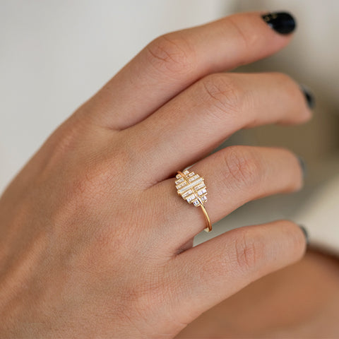 Cluster Engagement Ring with Needle Baguette Diamond - OOAK Up Close View on Hand