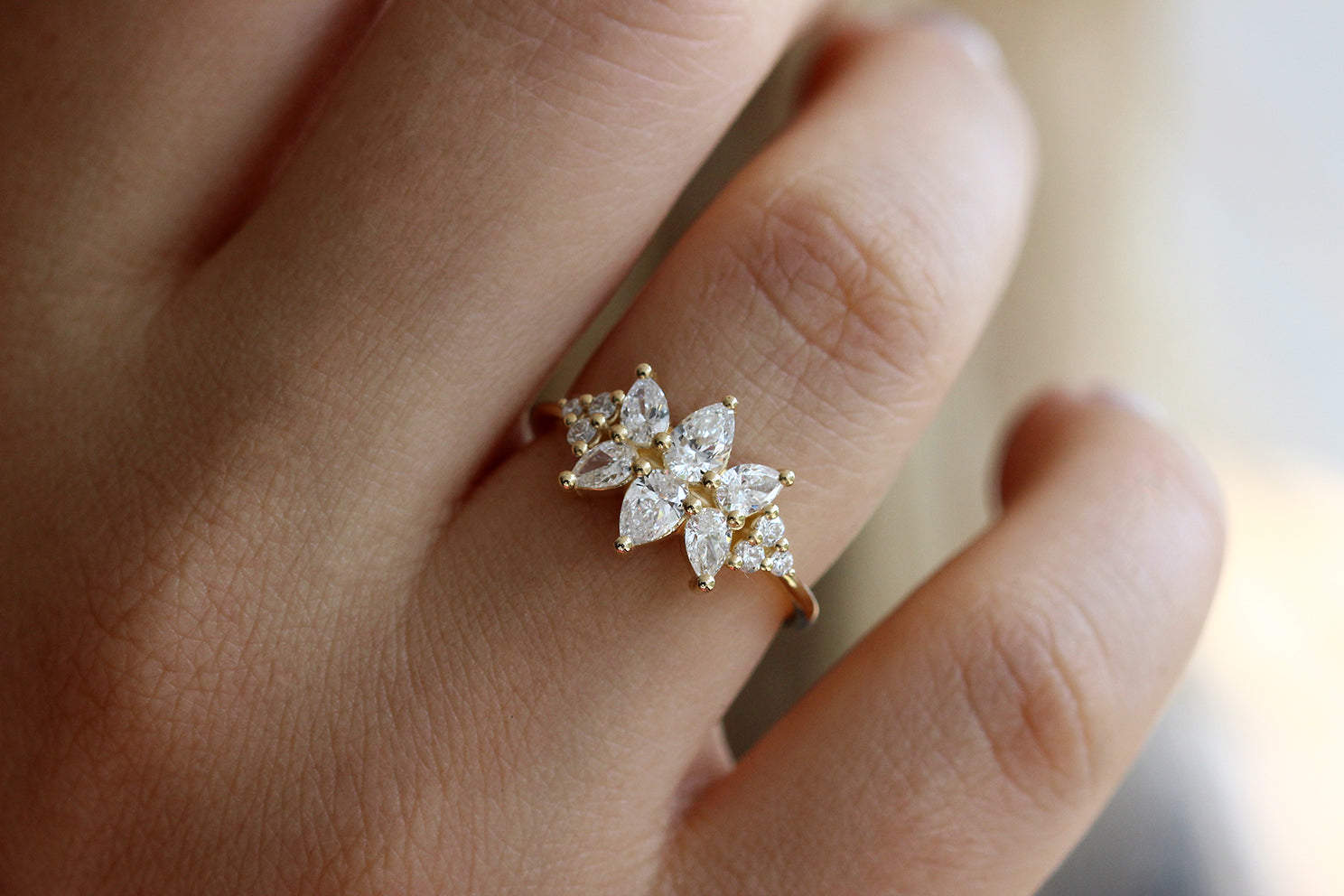 Cluster Ring Set With Diamonds On Finger