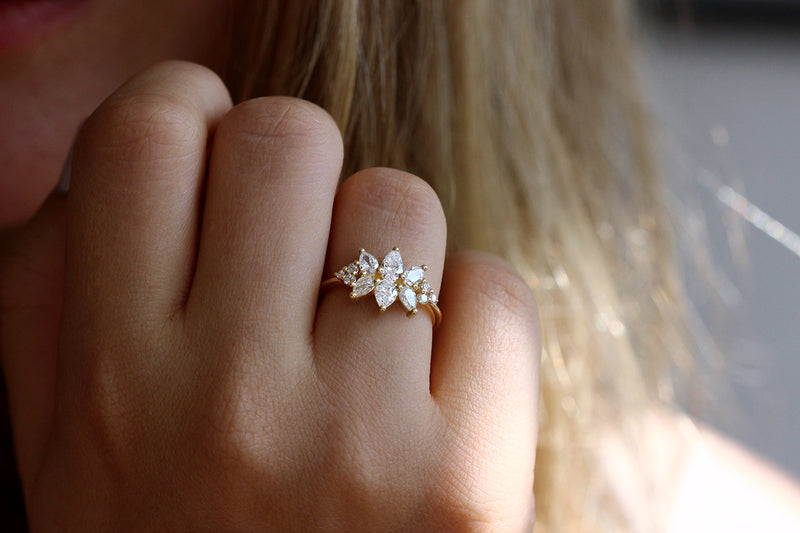 Cluster Ring Set With Diamonds On Hand