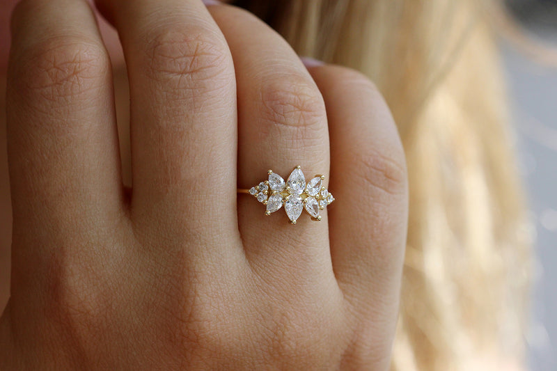 Cluster Ring Set With Diamonds On Ring Finger