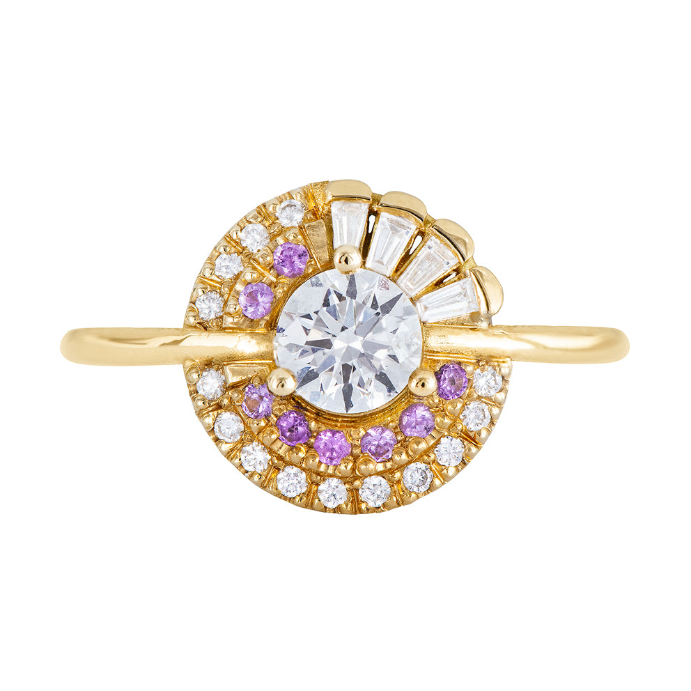 Cluster Engagement Ring with Purple Lilac Sapphires