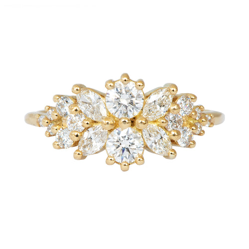 Cluster Engagement Ring with Round Diamonds