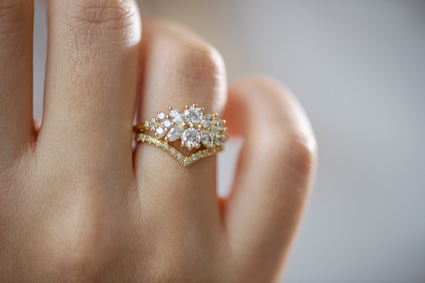 Cluster Engagement Ring with Round Diamonds on Hand in Set