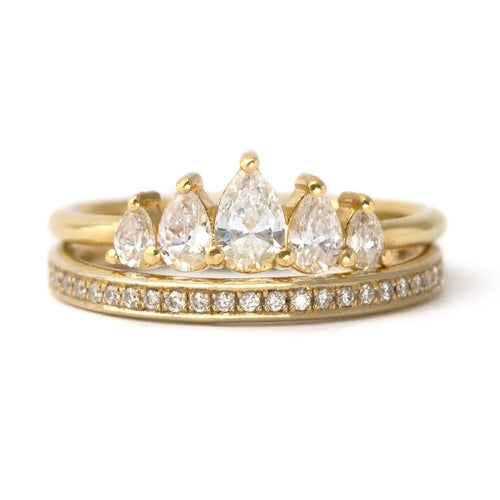 Crown Engagement Ring Set with Pear Cut Diamonds