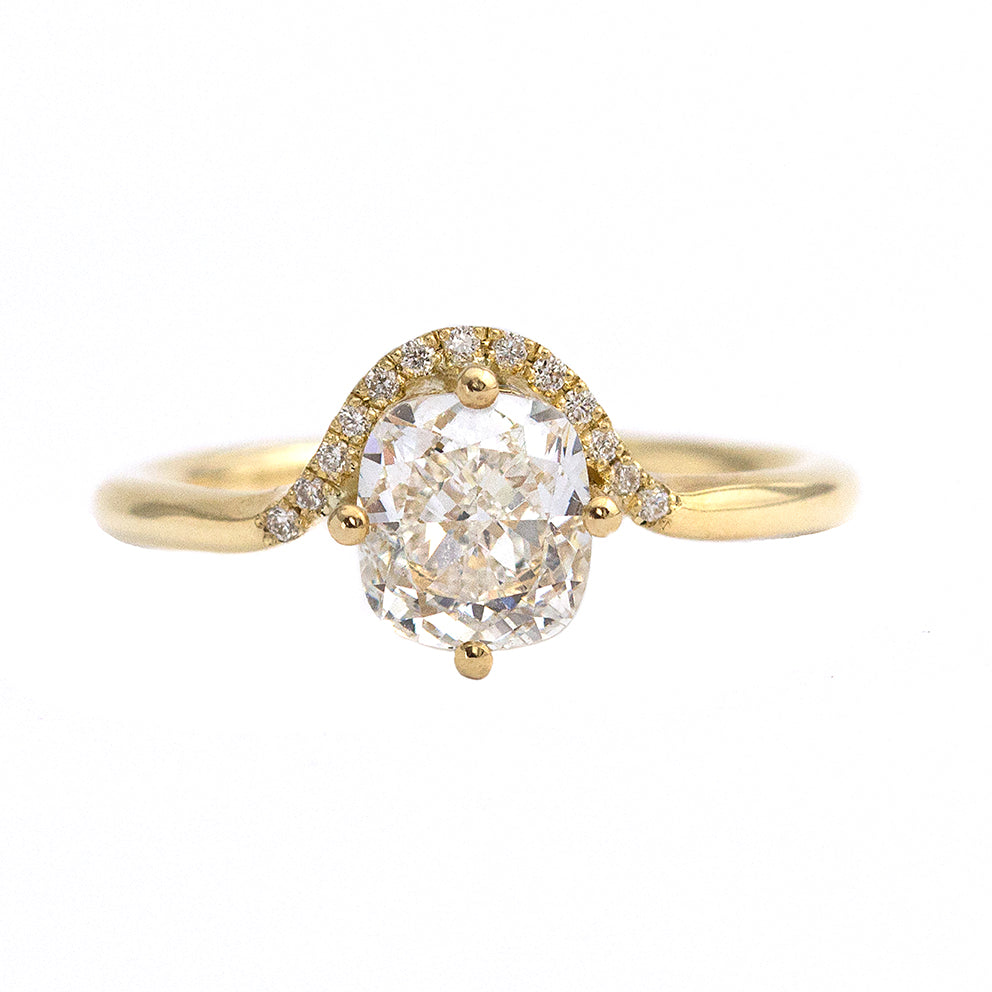 Cushion Cut Engagement Ring with Diamond Crown