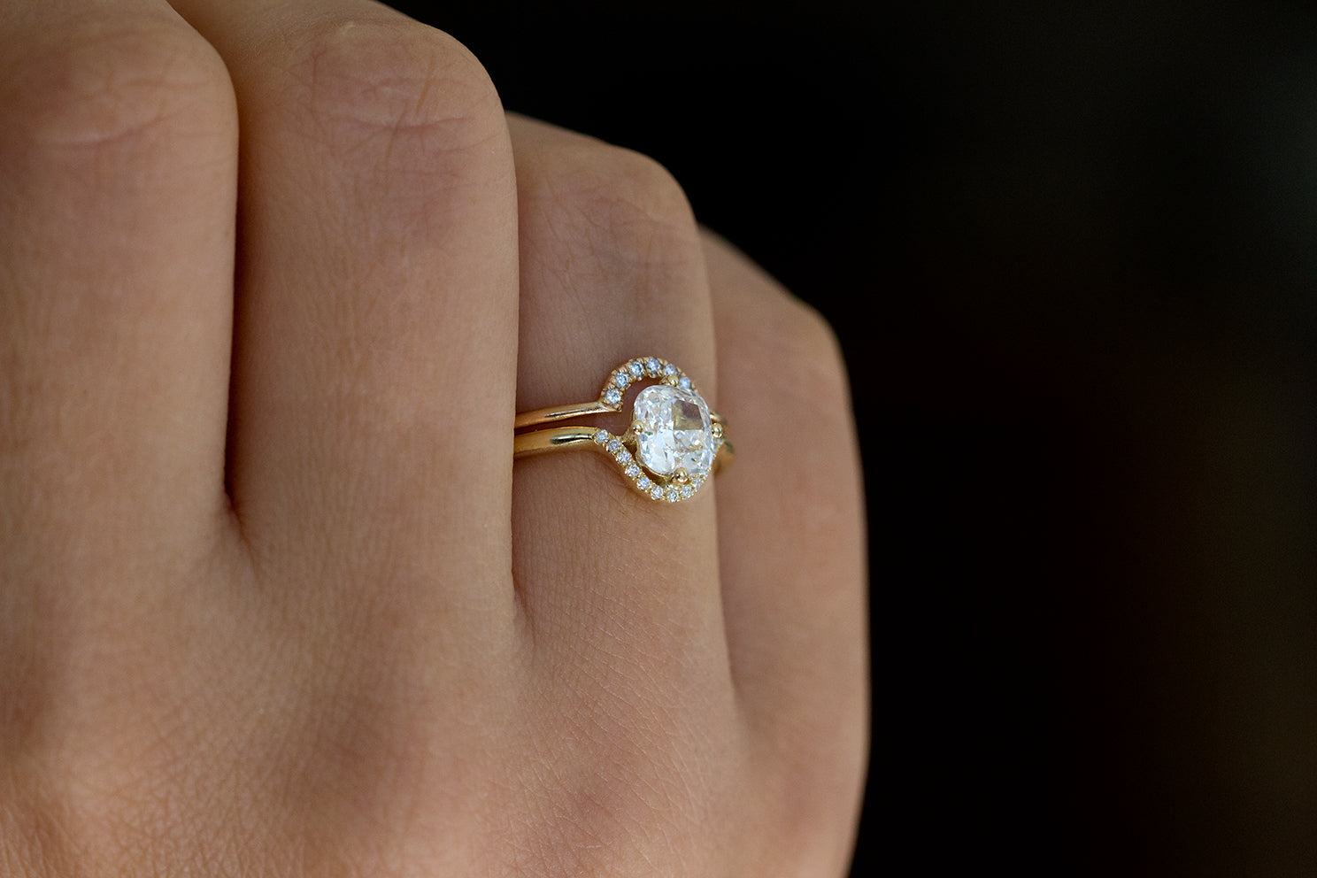Cushion Cut Engagement Ring with Diamond Crown in Set