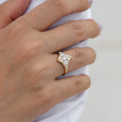 Baguette Diamond Star Ring3