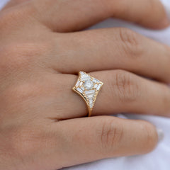 Baguette Diamond Star Ring8