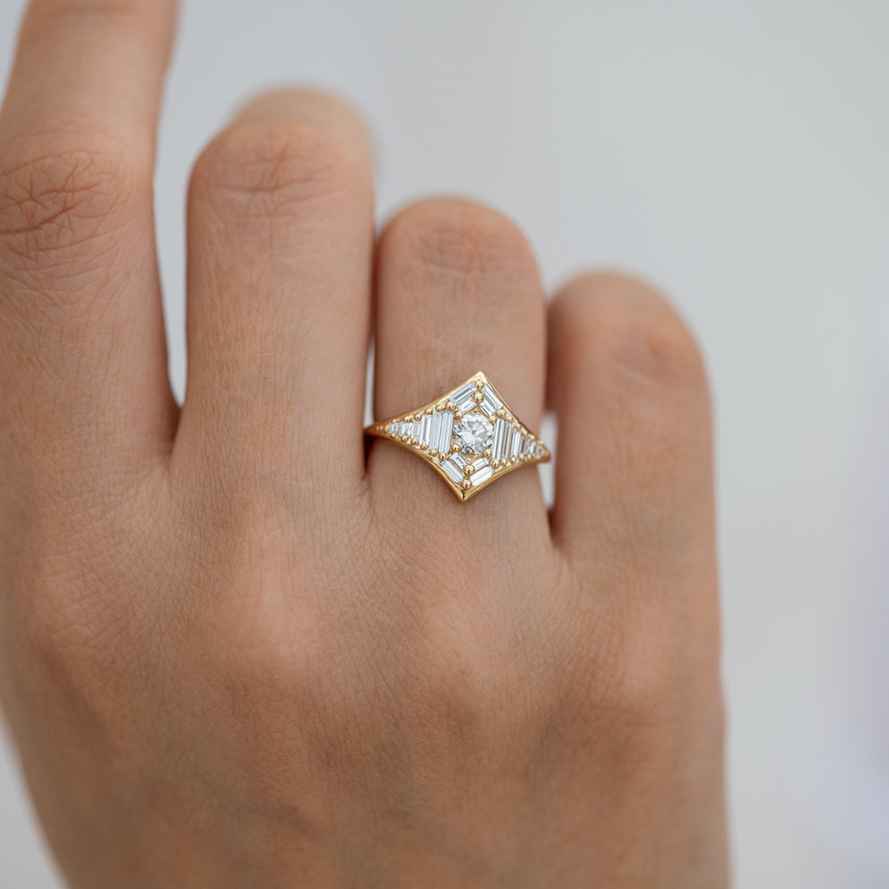 Baguette Diamond Star Ring7