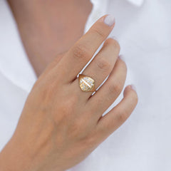 Signet Diamond Ring with Super Long Baguette Diamond - OOAK/Limited Edition on shirt