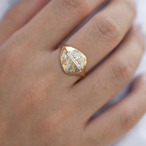 Signet Diamond Ring with Super Long Baguette Diamond - OOAK/Limited Edition on finger