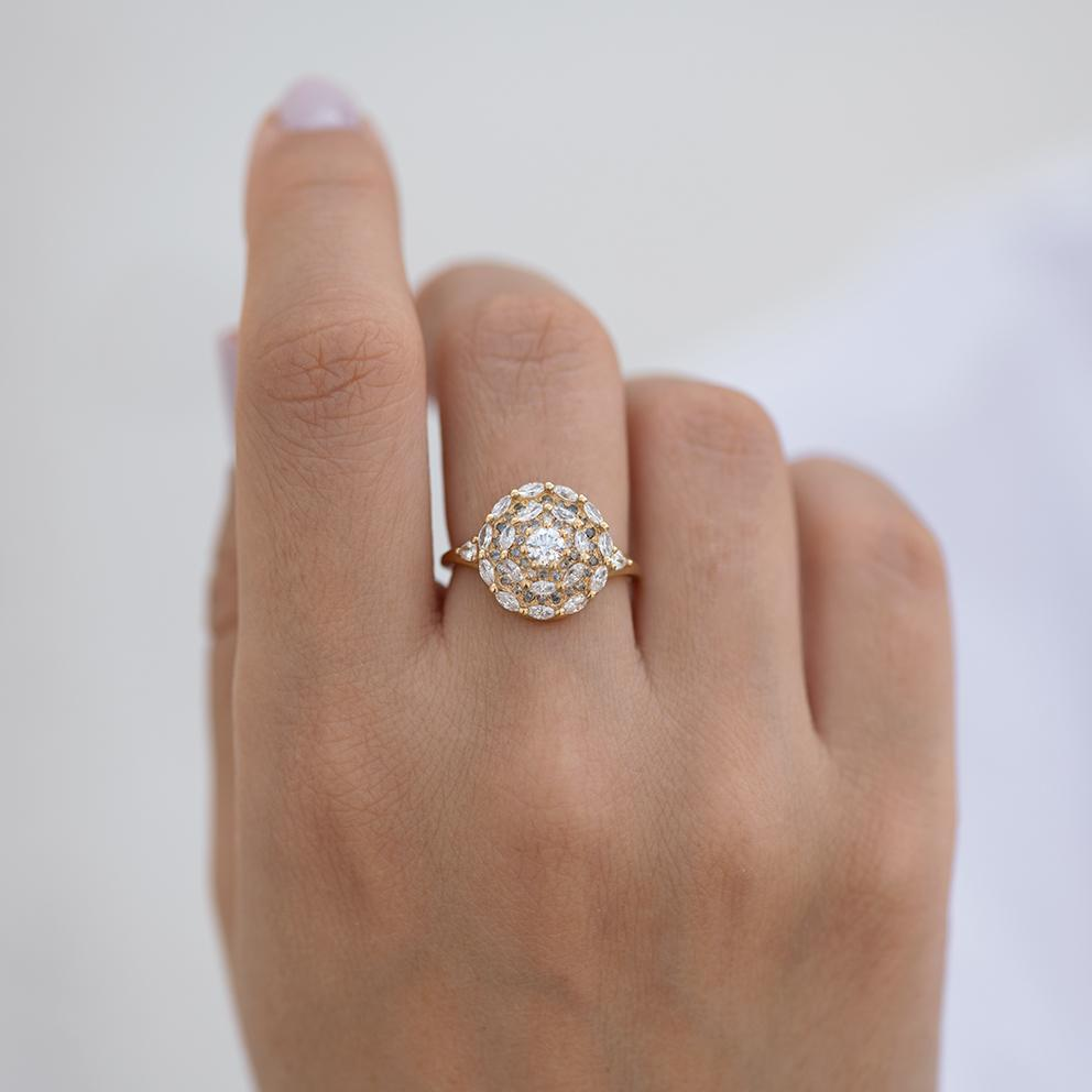 Marquise Diamond Halo Engagement Ring - Diamond Mandala Ring on finger