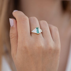 Emerald Ring with needle baguette Diamonds on hand