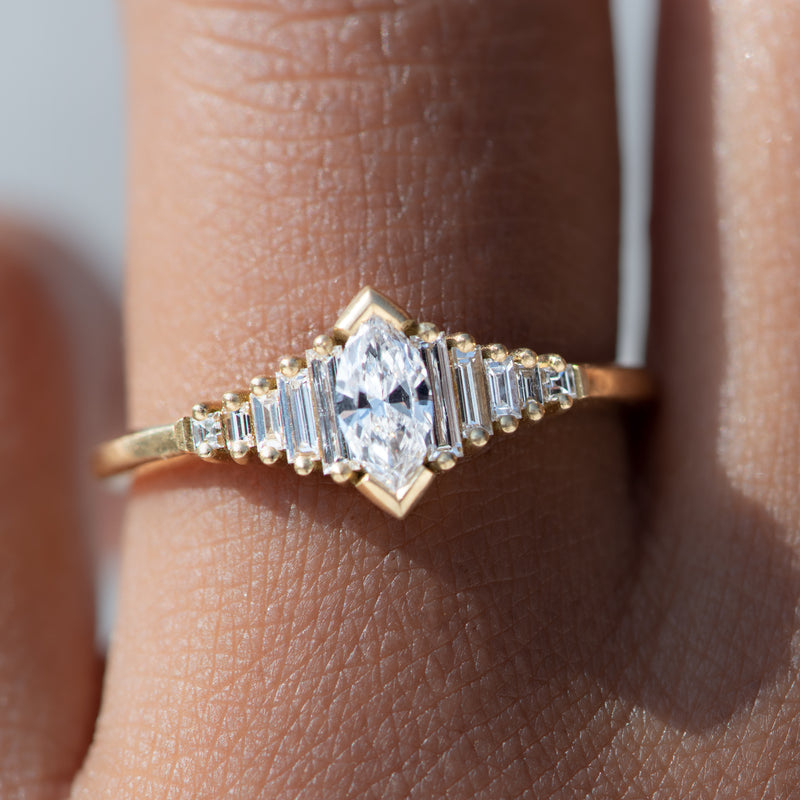 Dainty Deco Engagement Ring with Marquise Diamond