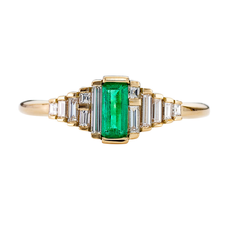 Dainty-Emerald-Engagement-Ring-with-Needle-Baguette-Diamonds-closeup