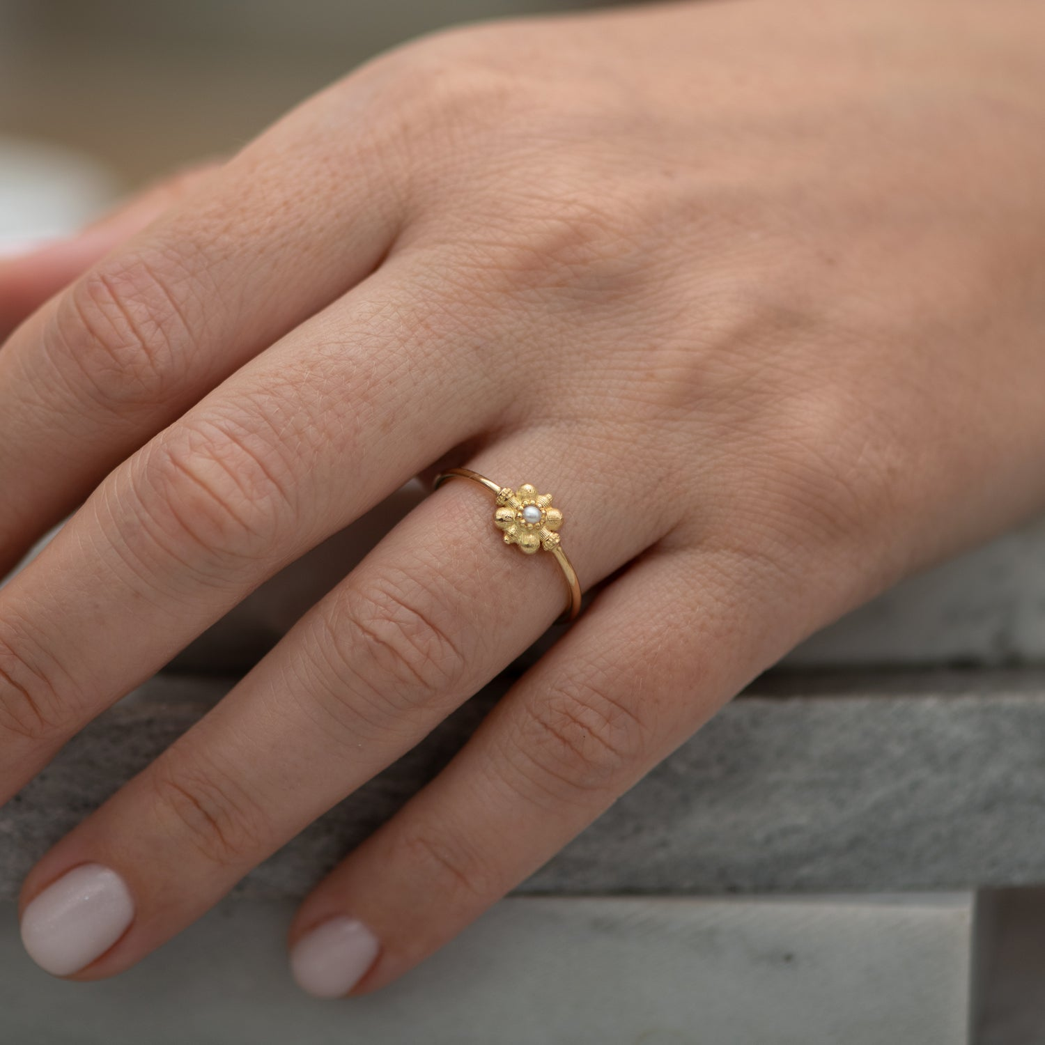 Dainty-Gold-Flower-Ring-Seed-Pearl-Ring