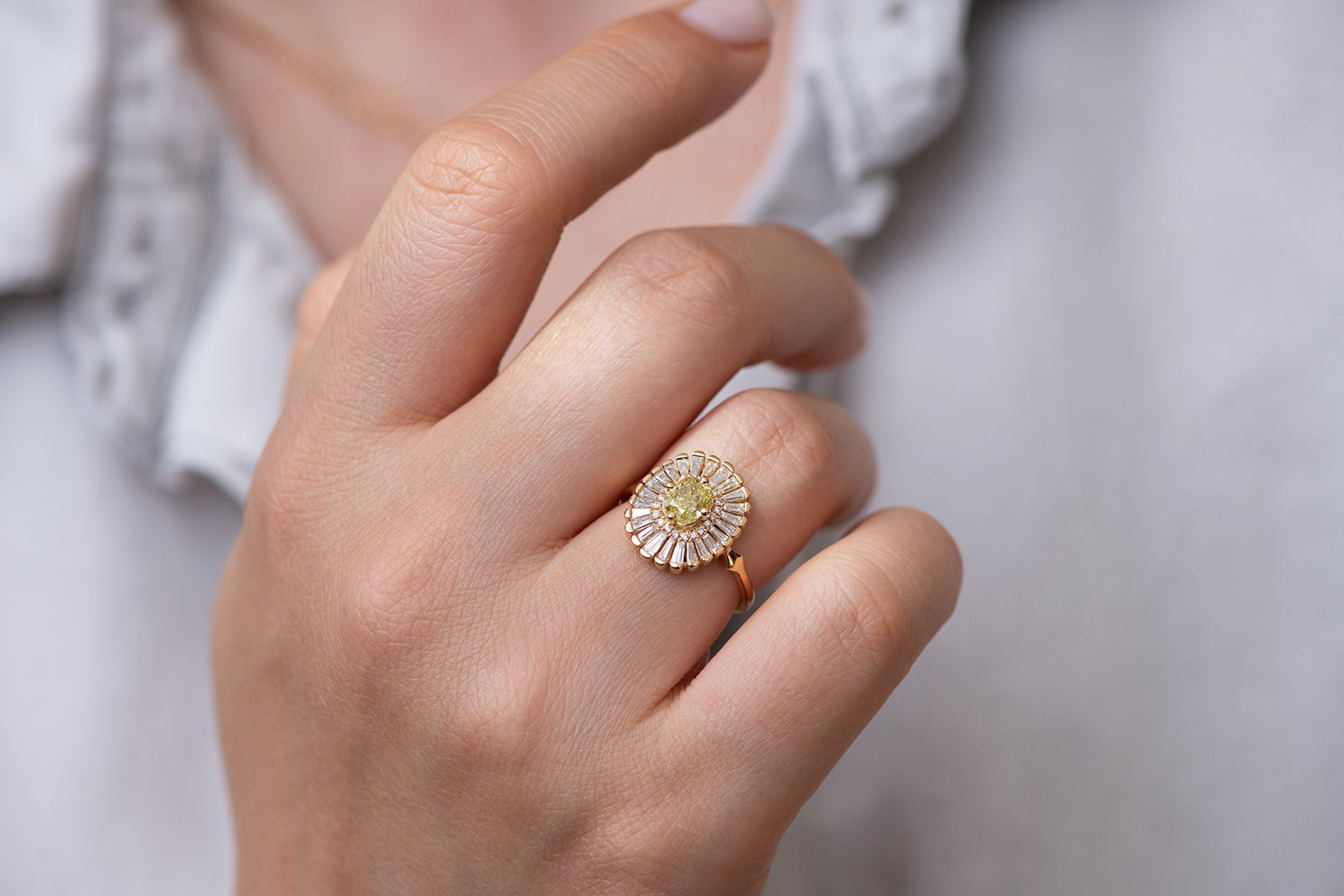 Daisy Engagement Ring - Fancy Yellow Diamond and Baguette Diamond Ring Front Shot on Hand