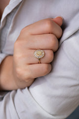 Daisy Engagement Ring - Fancy Yellow Diamond and Baguette Diamond Ring Alternate Angle on Hand
