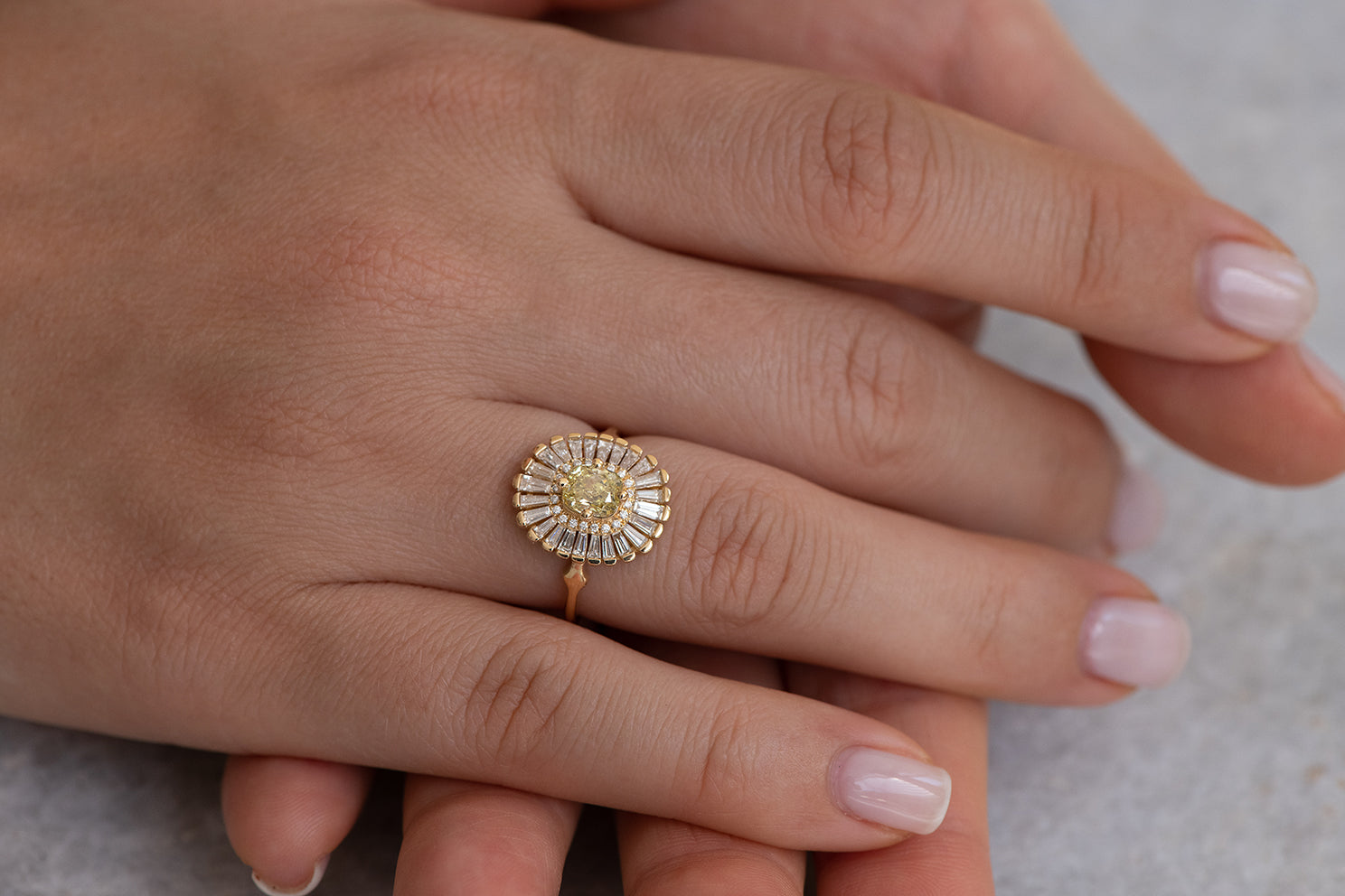 Daisy Engagement Ring - Fancy Yellow Diamond and Baguette Diamond Ring Up Close on Hand