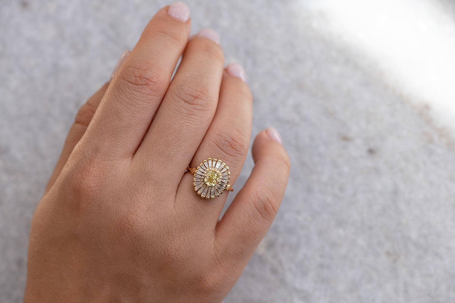 Daisy Engagement Ring - Fancy Yellow Diamond and Baguette Diamond Ring on Hand Look Down View