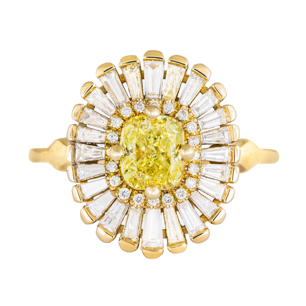 Daisy Engagement Ring - Fancy Yellow Diamond and Baguette Diamond Ring