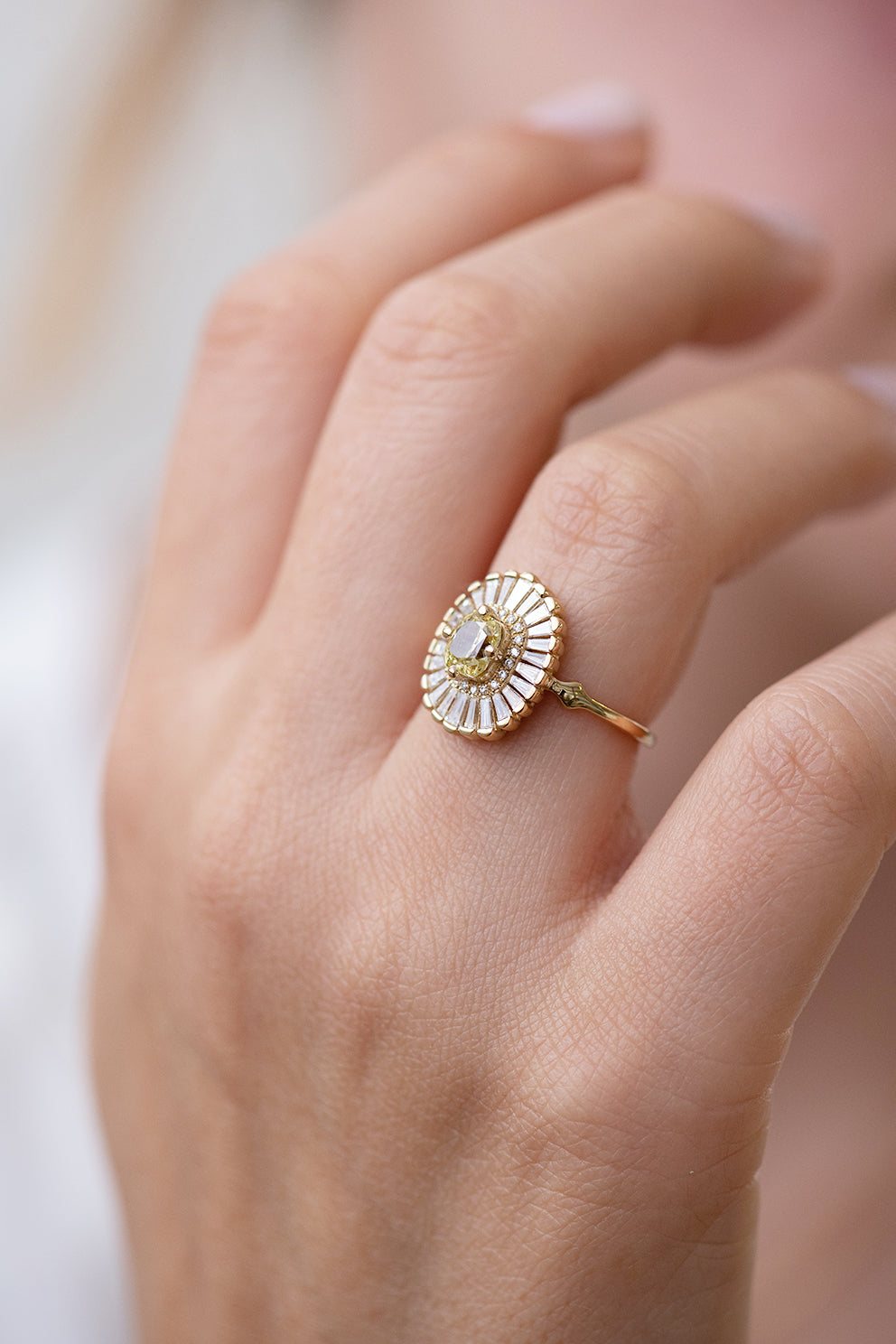 Wedding Ring Which Hand.Daisy Engagement Ring Fancy Yellow Diamond And Baguette Diamond Ring