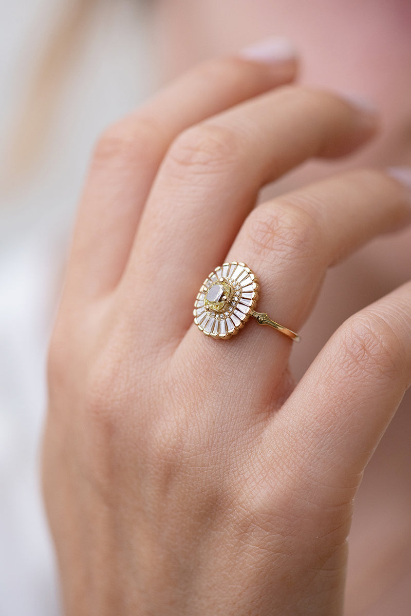 Daisy Engagement Ring - Fancy Yellow Diamond and Baguette Diamond Ring Side View on Hand Up Close