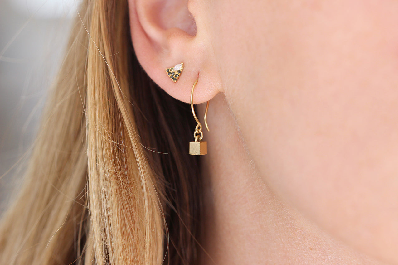 Dangling Tiny Cube Gold Earrings