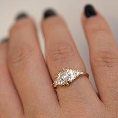 Deco Engagement Ring with Marquise Diamond on Hand side view