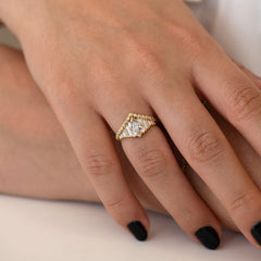 Deco Engagement Ring with Marquise Diamond on Hand in set other view
