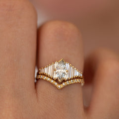 Deco Engagement Ring with Marquise Diamond on Hand in set detail view