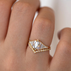 Deco Engagement Ring with Marquise Diamond on Hand in light in set