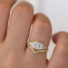 Deco Engagement Ring with Marquise Diamond on Hand other angle in set
