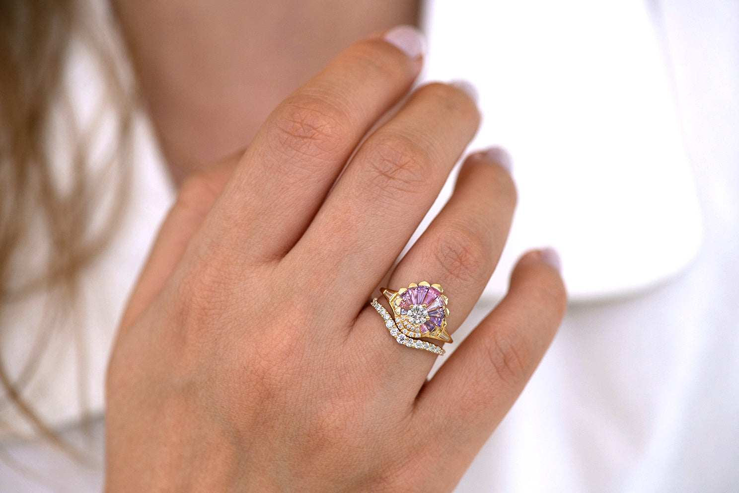 Deco Engagement Ring with Purple and Lilac Sapphires on hand in set front view