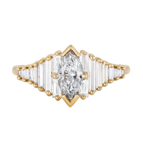 Deco Engagement Ring with Marquise Diamond