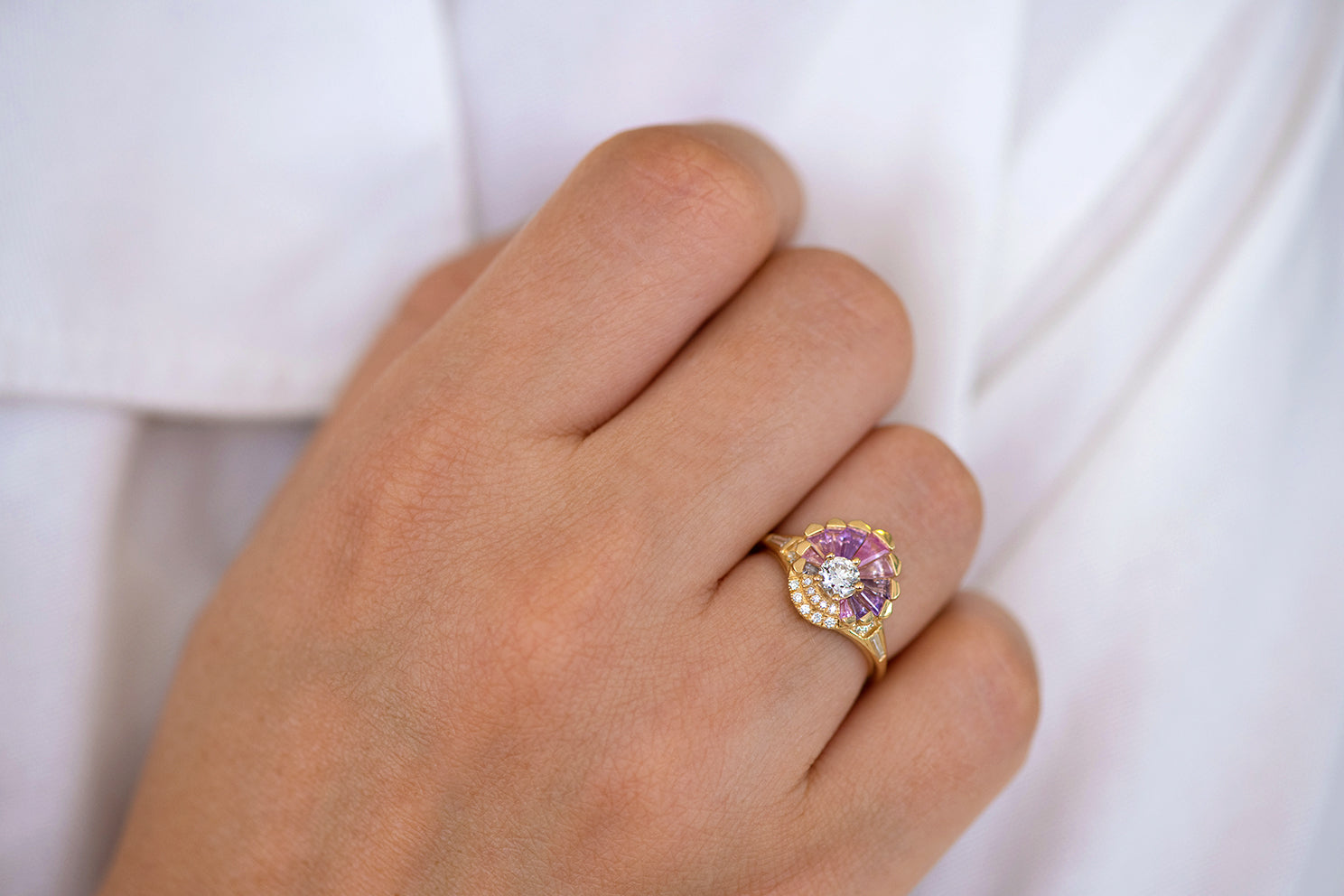 Deco Engagement Ring with Purple and Lilac Sapphires on Hand lower angle