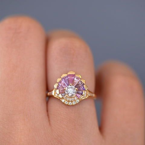 Deco Engagement Ring with Purple and Lilac Sapphires on Hand detail shot up close
