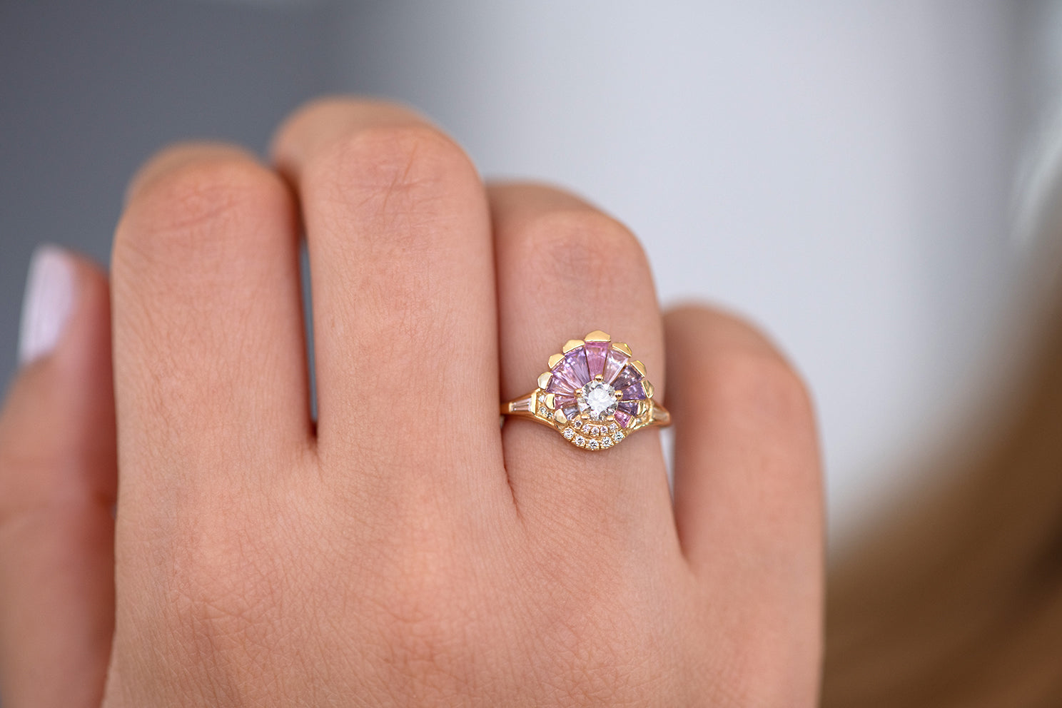 Deco Engagement Ring with Purple and Lilac Sapphires on Hand front view