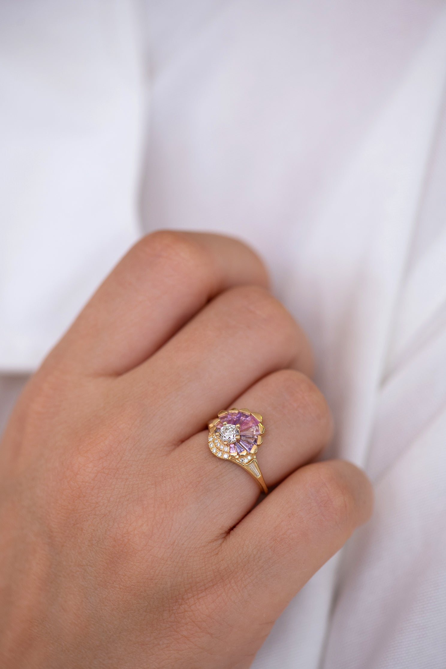 Deco Engagement Ring with Purple and Lilac Sapphires on Hand side angle