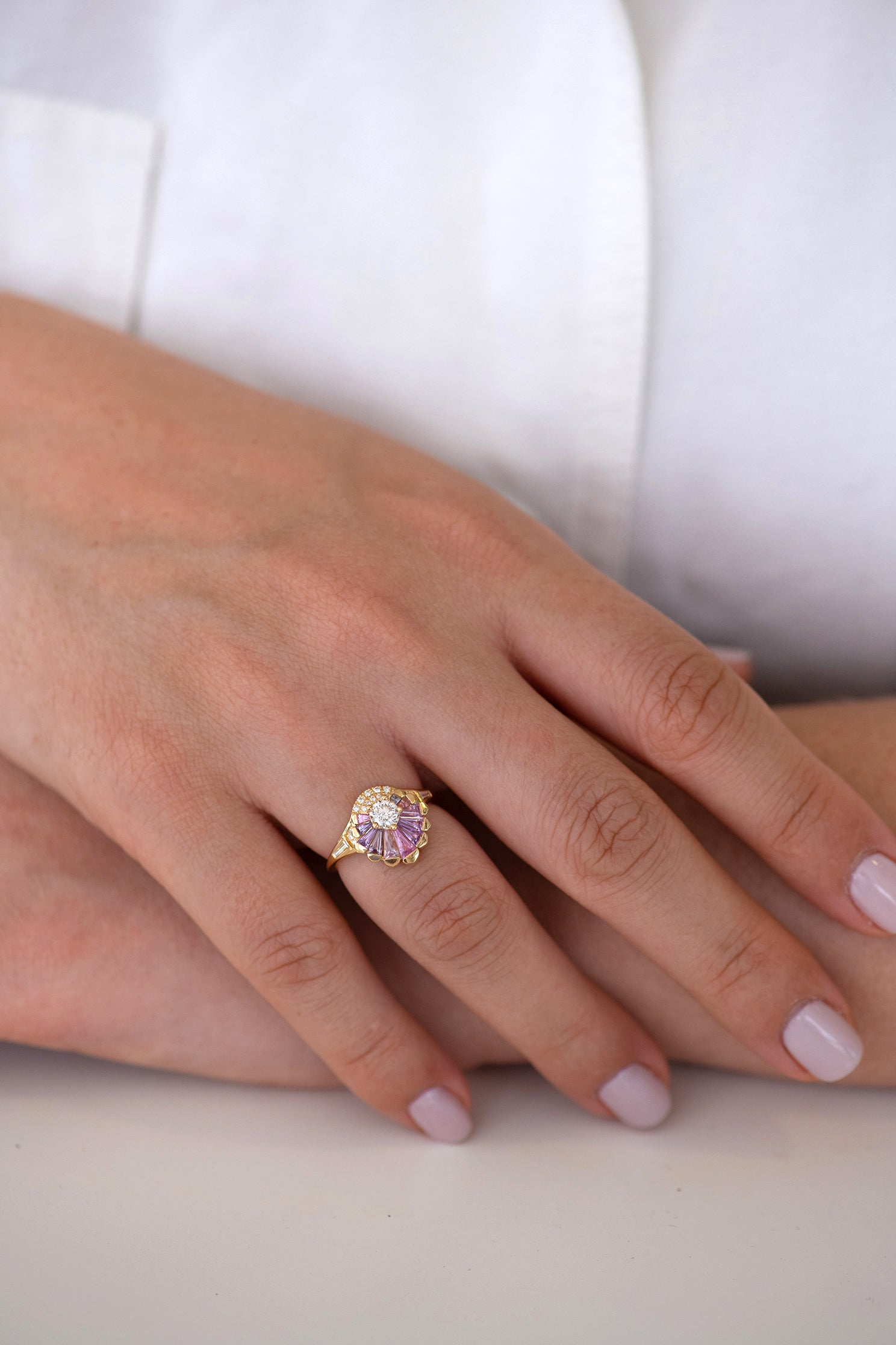 Deco Engagement Ring with Purple and Lilac Sapphires on Hands other view