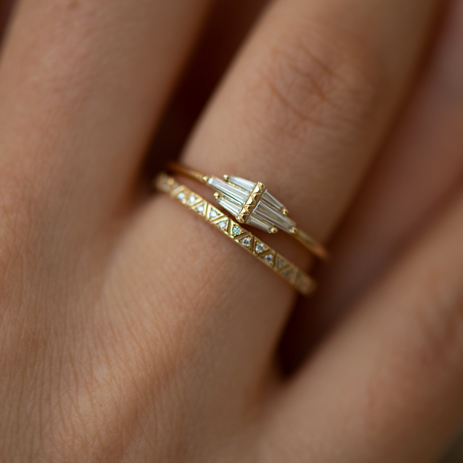 Delicate Diamond Cluster Ring with Tapered Baguette Wings