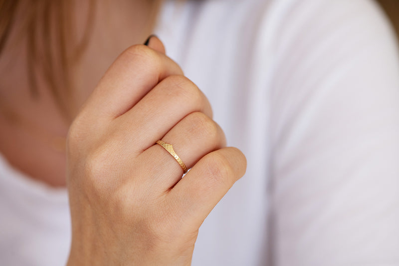 Delicate Wedding Band - Patterned Ring on Hand alternate angle