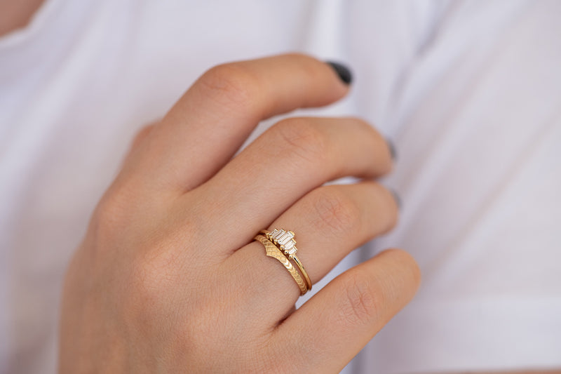 Delicate Wedding Band - Patterned Ring on Hand in set other angle