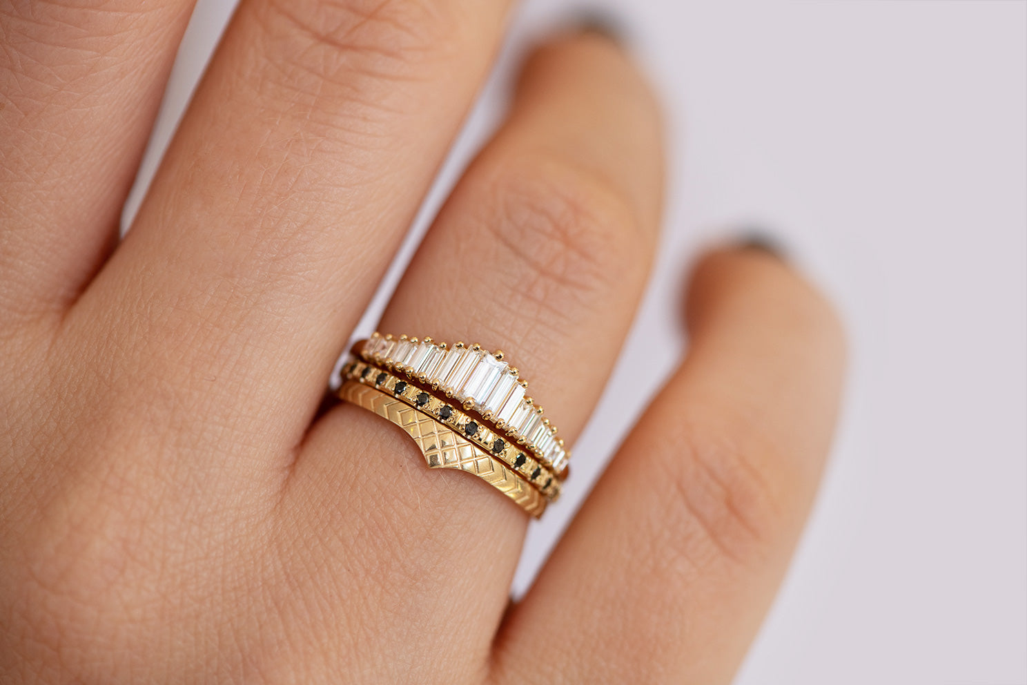 Delicate Wedding Band - Patterned Ring on Hand in three ring set