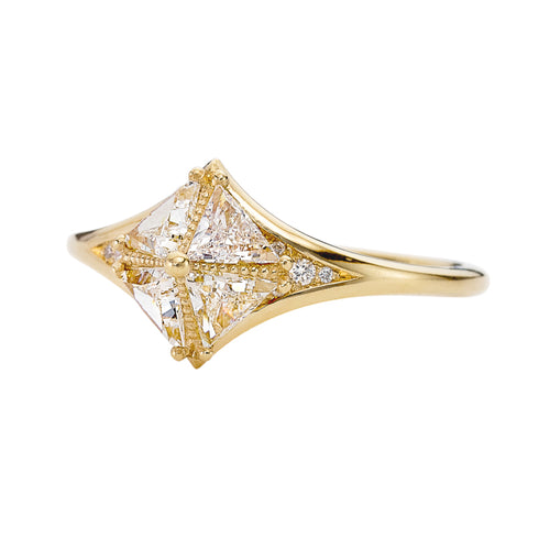 Detailed Star Engagement Ring with Triangle Diamonds
