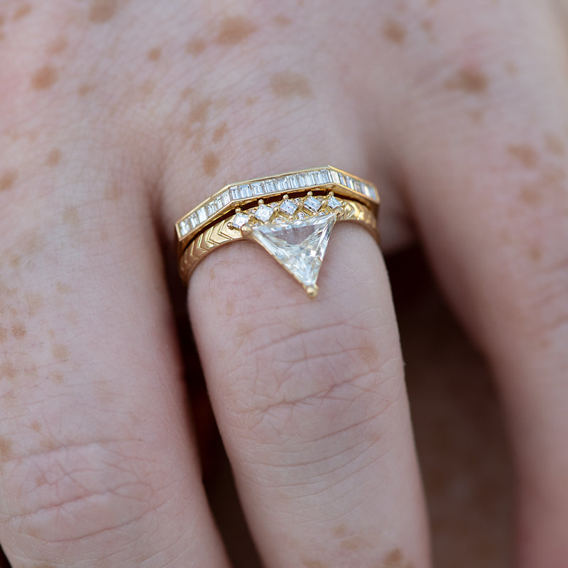 Detailed-Triangle-Diamond-Ring-with-Gold-Pattern-0.5-carat-CLOSEUP-in-set