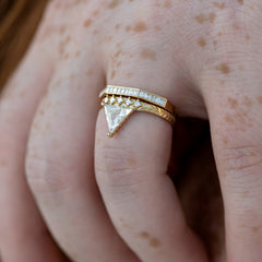 Detailed-Triangle-Diamond-Ring-with-Gold-Pattern-0.5-carat-side-shot-in-set