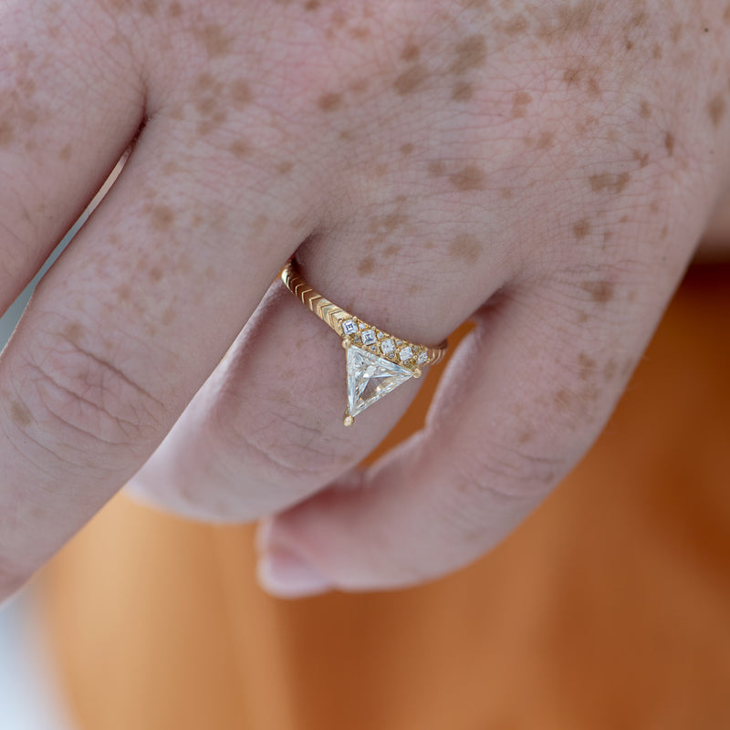 Detailed-Triangle-Diamond-Ring-with-Gold-Pattern-0.5-carat-side-shot