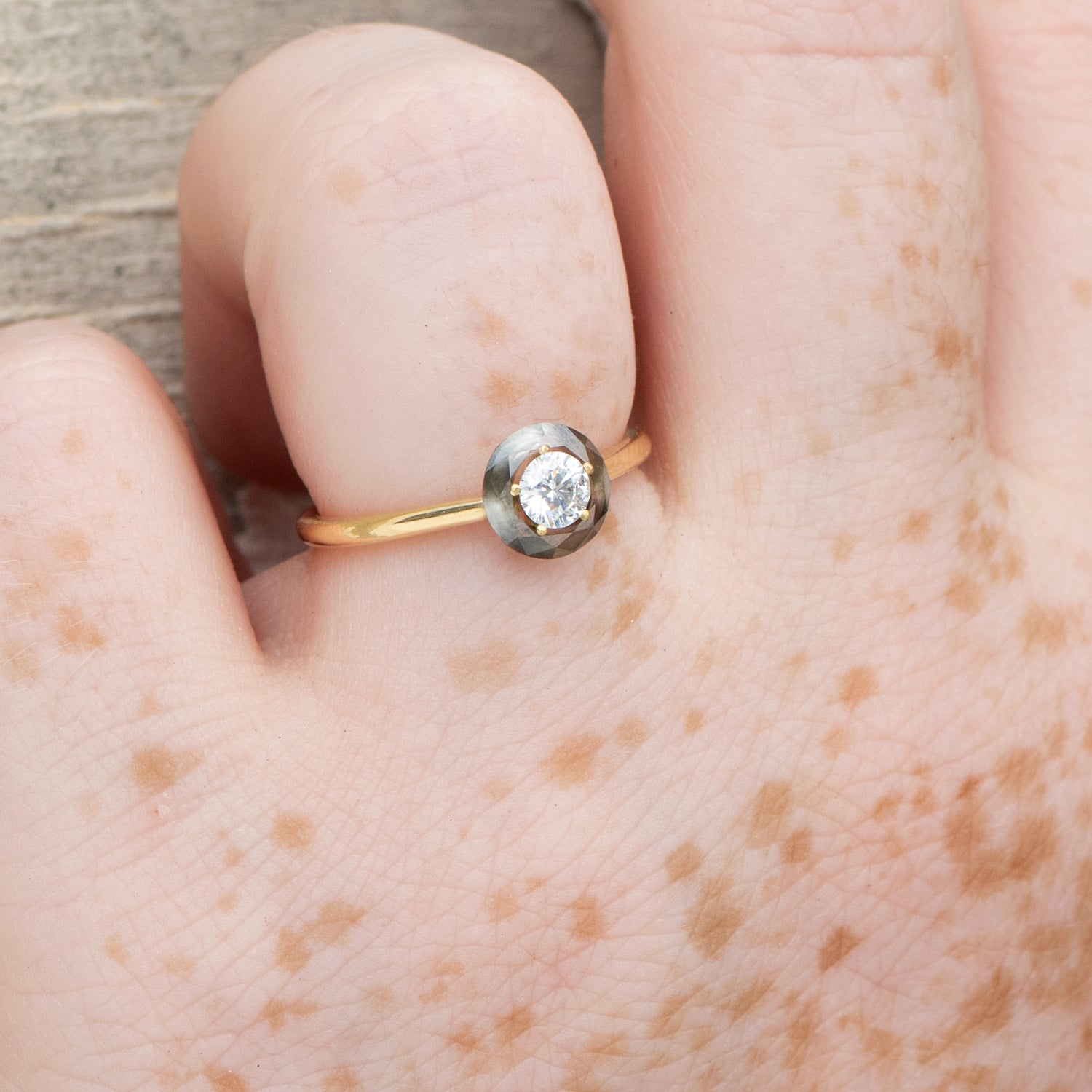 Diamond-Sphere-Engagement-Ring-OOAK-in-set-closeup-moment