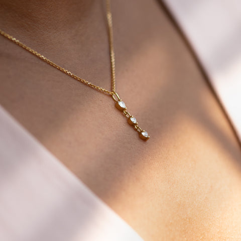 Diamond Necklace with-a-Tiny-Heart-Chain-Pendant-side-shot